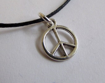 Peace Charm On Wax Cord Adjustable Unisex Free UK Shipping + Gift Bag
