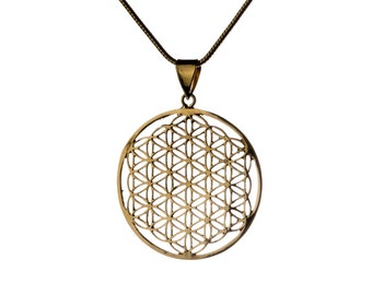 Flower of Life Brass Pendant Necklace Spiritual jewellery Yogi Jewellery Geometry Handmade Free UK delivery Gift Boxed + Gift Bag BP3