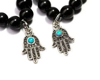 Sterling Silver Hamsa Charm + Black Onyx Gemstone Bracelet Adjustable Bracelet Unisex Evil Eye Jewellery Giftbag  Free UK Delivery