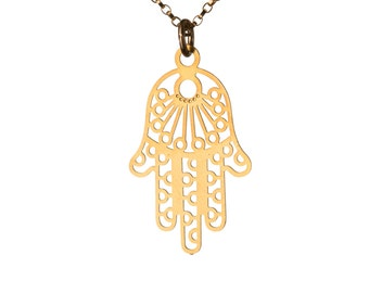 Hamsa Filigree Necklace Dainty Gold Filled Necklace Pendant Evil Eye Jewelry Free UK delivery + Gift Box + Gift Bag GP5