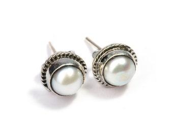 Fresh Water Pearl Gemstone Sterling Silver Stud Earrings Simple Jewellery Dainty Jewellery  Free UK Delivery Gift Boxed