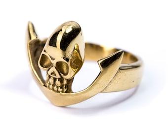 Skull Ring Brass Gothic Tribal Unisex Jewellery  Skull Jewelry Gift Boxed + Gift Bag , Free UK Delivery SKV