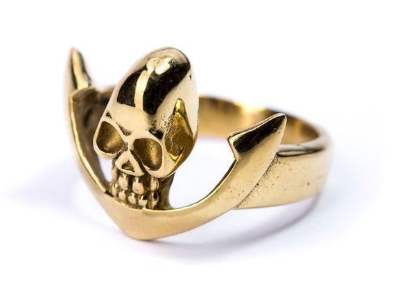 Skull White Brass Hoop Earrings Tribal Earrings Nickel Free Gothic Jewellery Free UK Delivery Gift Boxed
