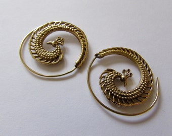 Peacock Spiral Brass Earrings, handmade, Tribal Earrings, Gypsy Jewelry, Free, Gift boxed, Free UK postage