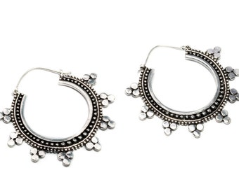 Big Mandala Dotted White Brass Hoop  Earrings Tribal Earrings Gypsy Jewellery Free UK Delivery Gift Boxed WB66 WHP1