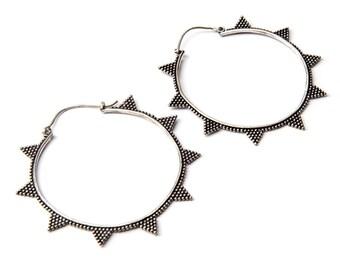 White Brass Big Hoop Earrings Tribal Earrings Mandala Jewellery Free UK Delivery Gift Boxed