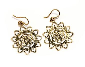 Brass Seed of Life Earrings, Earrings handmade,Yoga Earrings with hooks, Nickel Free, Sacred Geometry Jewellery, Gift boxed,Free post BG11