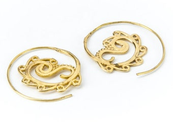 Small Spiral Brass dots and swirls design Earrings handmade, Tribal Earrings, Nickel Free, Indian Inspired, Gift boxed,Free UK postage BG8