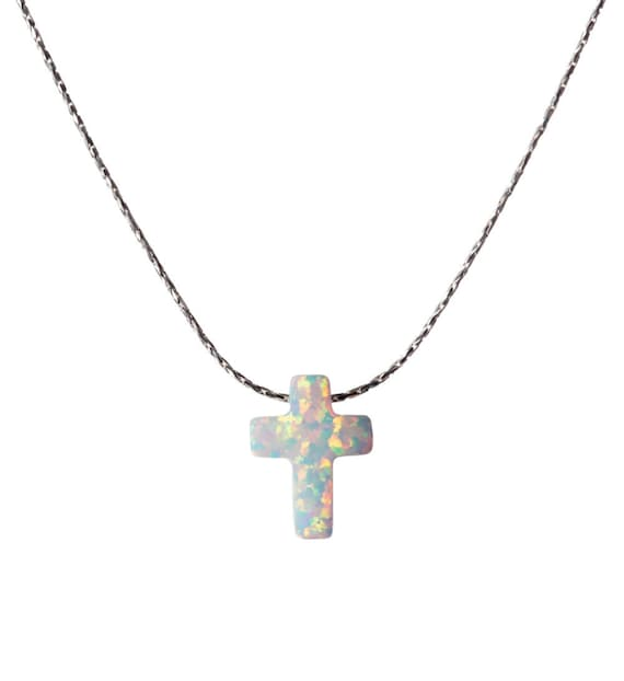 Gift Bag White Opal Cross Necklace Dainty 925 Silver Necklace Pendant Handmade Free UK delivery Gift Box