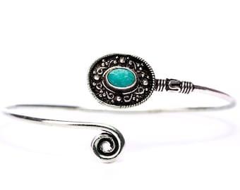 Boho Tribal Bangle Turquoise Gemstone Bracelet Adjustable Gift Boxed + Giftbag + Free UK Delivery WBB3