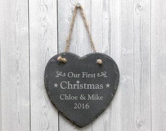 Our First Christmas Personalised Couples Name Slate Sign - Christmas Decoration - Any Engraved Message