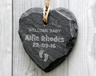 Personalised Welcome Baby Slate Sign - Birth Announcement - Heart Keepsake - Any Engraved Message
