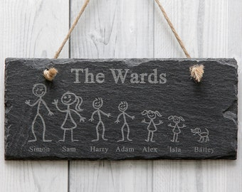 Personalised Rustic Engraved Slate Wall House Name Stick Family Sign Plaque
