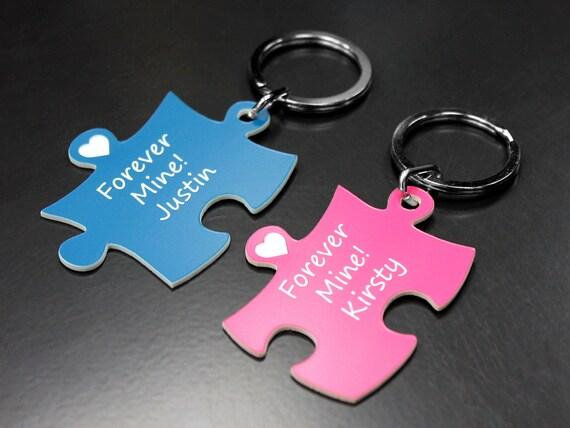 Geburtstag Puzzle Pink & BLAU Liebe Hochzeit Valentinstag 2 Schlüsselanhänger mit Gravur