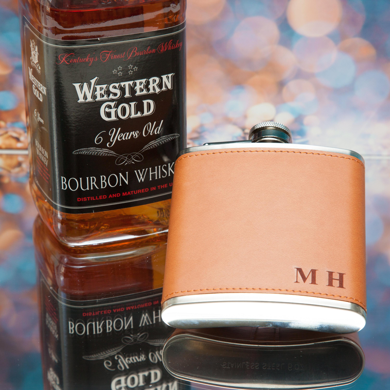 Personalised Engraved Flask Groom Bestman Initials PU Tan Leather Hip Flask