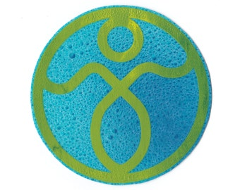 Medallion Sticker • Green on Blue Droplet