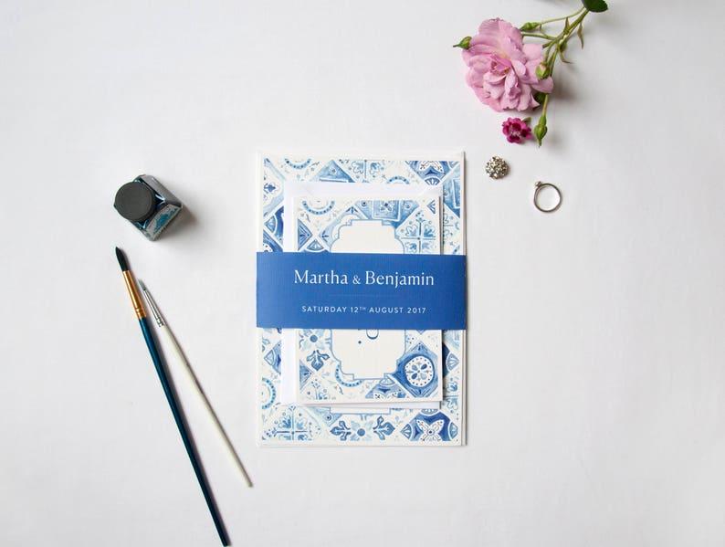 Pacchetto di nome blu bianco portoghese piastrelle nozze etsy