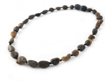 Black Children Amber Beads Teething Necklace