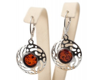 "Silver earrings with amber ""Melle"""