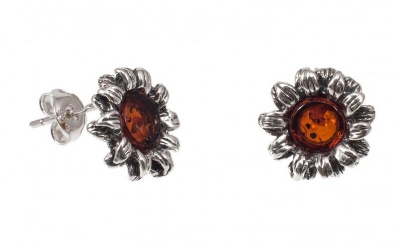 Silver Amber Earrings Cognac Amber