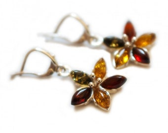 "Amber Silver Earrings ""Nostalgic Spring"""