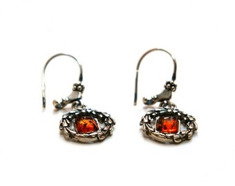 "Amber silver earrings ""Laurel Wreath"""