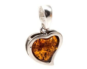 "Silver Amber Pendant ""Heart"""