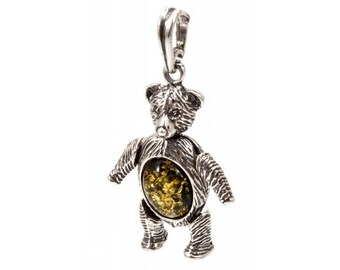 "Amber Silver Pendant ""Teddy Bear"", Teddy Bear Pendant"