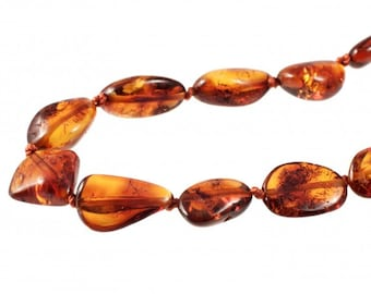 Baltic Clear Cognac Natural Raw Amber Necklace Beads