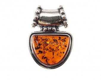 Silver Amber Pendant Amulet