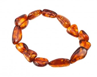 Raw Natural Cognac Amber Bracelet Baltic Amber