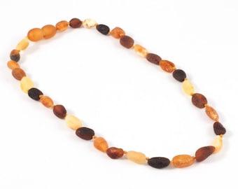Children Variegated Amber Beads Teething Necklace, Raw Unpolished Amber, Raw Amber Teething, Baby Necklace, Children Jewelry