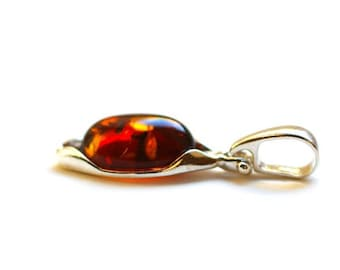 "Silver Amber Pendant ""Cozy Evening"""