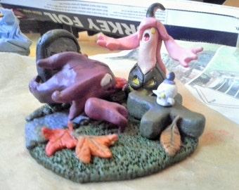 Pokemon Halloween polymer clay custom sculpture. Handmade, painted with acrylic paint and glazed.