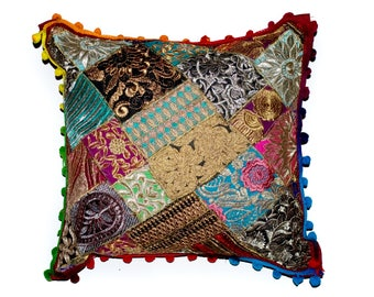 """Indian Patchwork Cushion Cover Handmade Pom Pom Hand sewed 16"""" square"""