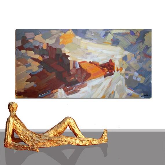 Gemälde XXL LANDSCHAFTSMALEREI Modern Abstrakt Braun Farben | Etsy