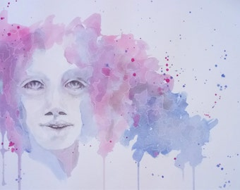 Lucy, colorful watercolor art print