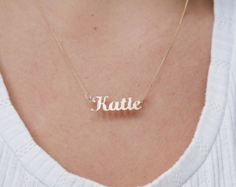 Personalised 9ct Gold Plated on Sterling Silver Carrie Style Name Necklace Pendant ANY NAME Plate Unique Gift Idea for Women Small
