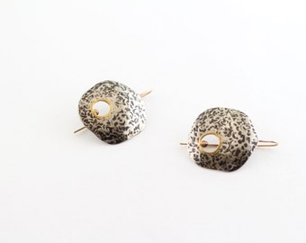 hammered silver touch of gold earrings