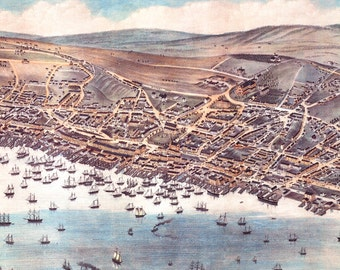 """St. John's Newfoundland in 1879 Panoramic Bird's Eye View Map by Albert Ruger 22x16"""" Reproduction"""