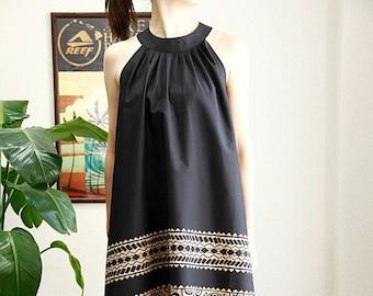 Hawaiian fabric & black Tapa Ginger Dress , HNLS02029-81210