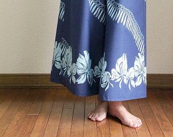 Hawaiian Maxi Pants-White ginger lei,hawaiian style,HNLS03020-47310