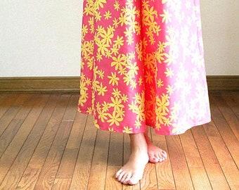 Hawaiian Maxi Pants-Yellow Plumeria,hawaiian style,HNLS03023-47310
