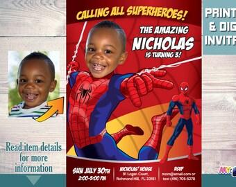 Invitación De Spiderman Con Su Niña Como La Mujer Araña Etsy