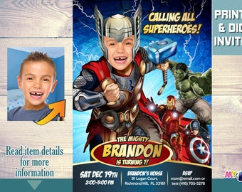 Thor and hulk birthday party invitations thor and hulk etsy thor and avengers birthday party invitation thor birthday party thor avengers party thor party ideas thor avengers birthday ideas 155 filmwisefo