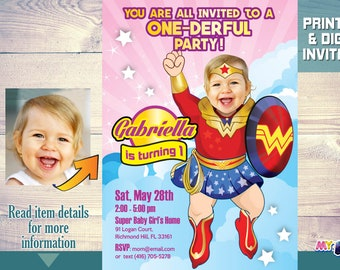 1st birthday invitations etsy wonder baby girl 1st birthday invitation superhero baby party invitations one derful party ideas baby wonder woman first birthday 171 filmwisefo