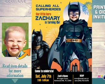 Batman Birthday Invitation Turn Your Boy Into Party Ideas Black Suit 063