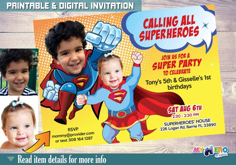 Superman Super Baby Girl Birthday Party Invitations