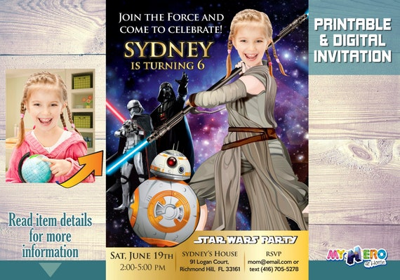 Star Wars Birthday Party Invitation For Girls Turn Your Girl Into Jedi Rey Along With Galaxy Favorites 006