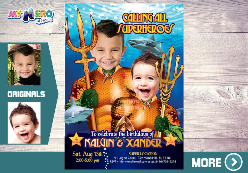 Aquaman Birthday Invitation For Siblings